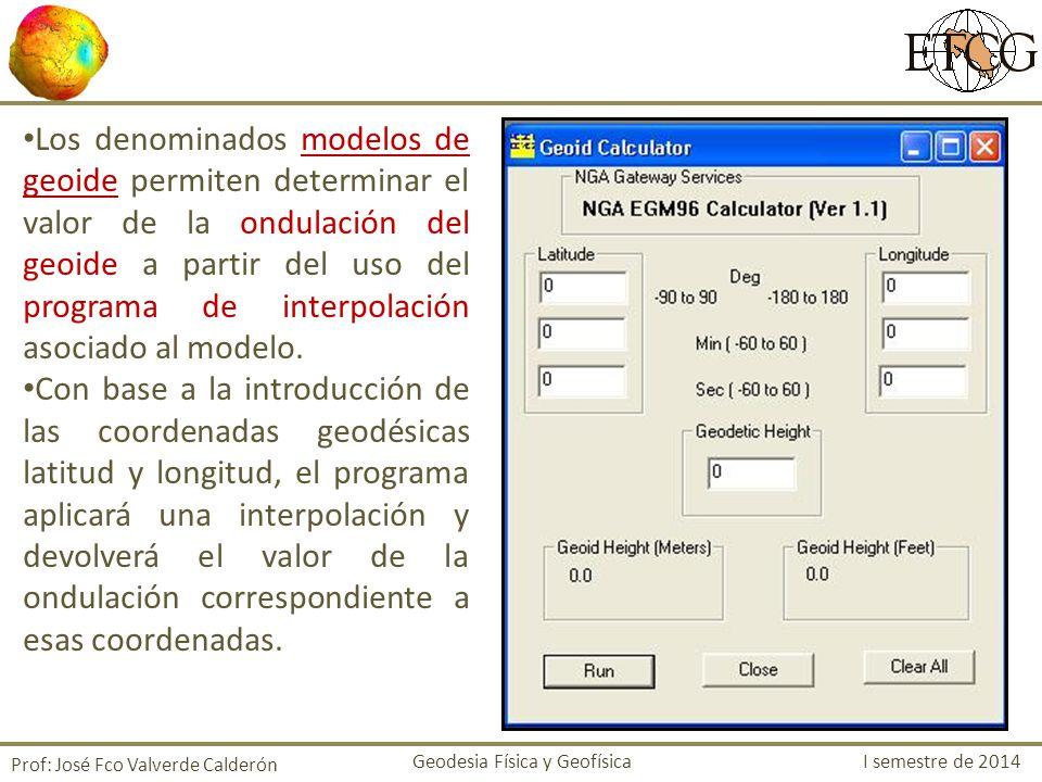 Resultado de la interpolación Prof: José Fco Valverde Calderón Geodesia Física y Geofísica I semestre de 2014