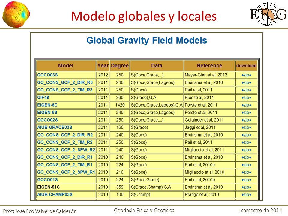 Prof: José Fco Valverde Calderón Modelo globales y locales Geodesia Física y Geofísica I semestre de 2014