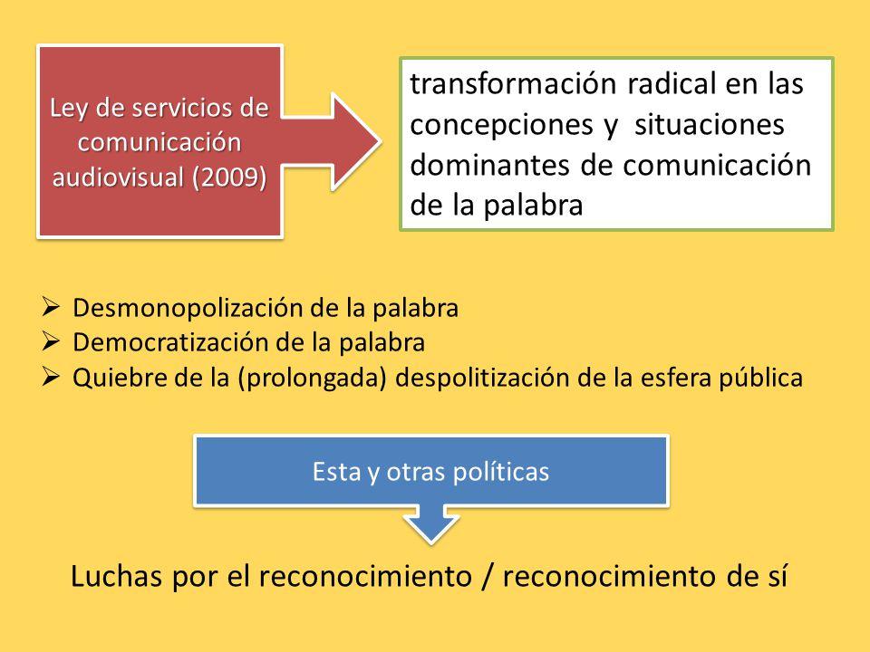 Ley de servicios de comunicación audiovisual (2009) transformación radical en las concepciones y situaciones dominantes de comunicación de la palabra Luchas por el reconocimiento / reconocimiento de sí Desmonopolización de la palabra Democratización de la palabra Quiebre de la (prolongada) despolitización de la esfera pública Esta y otras políticas