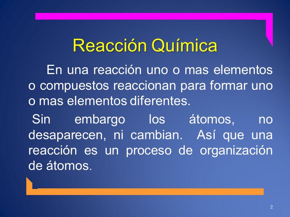 Reacción Química En una reacción uno o mas elementos o compuestos reaccionan para formar uno o mas elementos diferentes. Sin embargo los átomos, no de