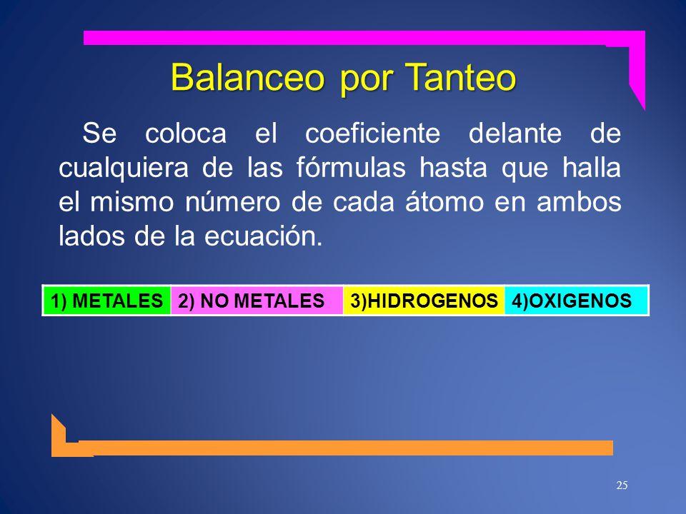 Balanceo por Tanteo Se coloca el coeficiente delante de cualquiera de las fórmulas hasta que halla el mismo número de cada átomo en ambos lados de la ecuación.
