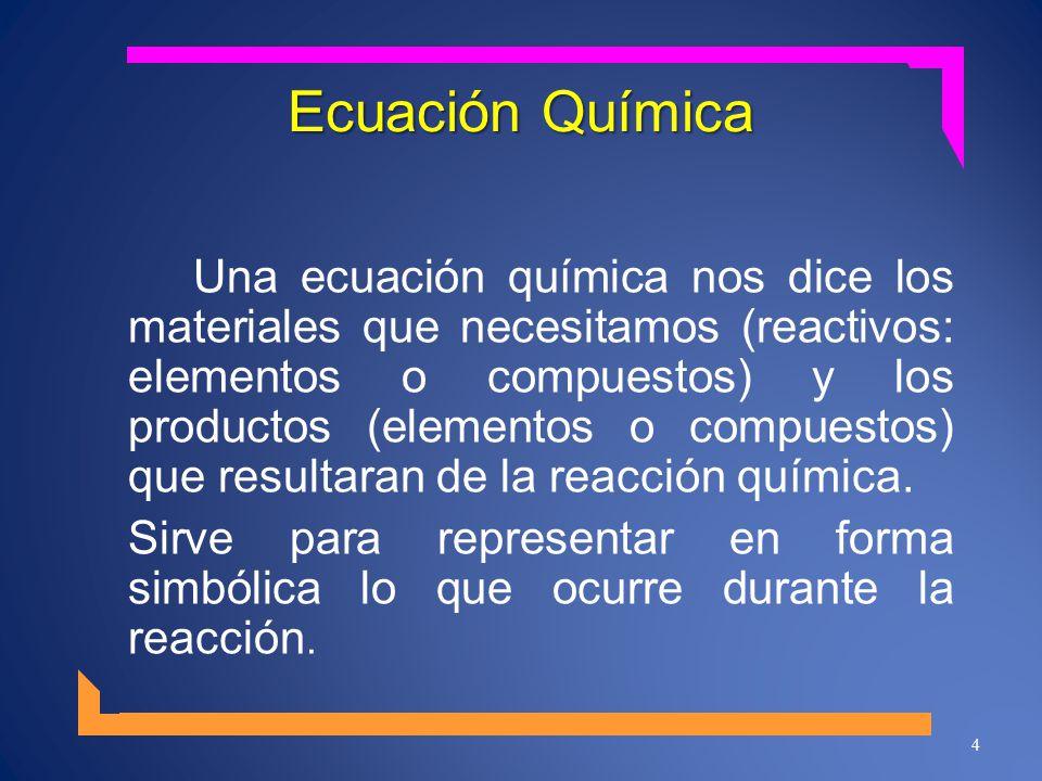 Ecuación Química Una ecuación química nos dice los materiales que necesitamos (reactivos: elementos o compuestos) y los productos (elementos o compues