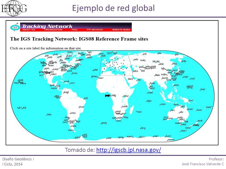 Ejemplo de red global Tomado de: http://igscb.jpl.nasa.gov/http://igscb.jpl.nasa.gov/ Profesor: José Francisco Valverde C Diseño Geodésico I I Ciclo,