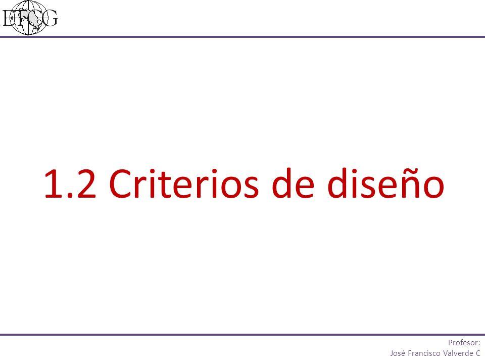 1.2 Criterios de diseño Profesor: José Francisco Valverde C