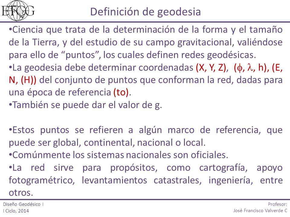 Ciencia que trata de la determinación de la forma y el tamaño de la Tierra, y del estudio de su campo gravitacional, valiéndose para ello de puntos, los cuales definen redes geodésicas.