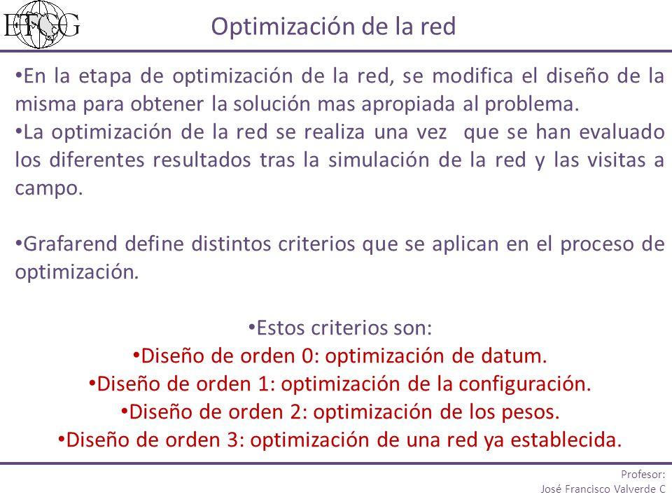 Optimización de la red En la etapa de optimización de la red, se modifica el diseño de la misma para obtener la solución mas apropiada al problema. La