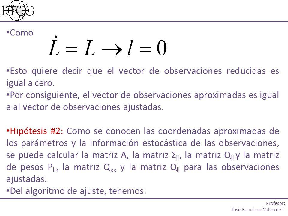 Como Esto quiere decir que el vector de observaciones reducidas es igual a cero. Por consiguiente, el vector de observaciones aproximadas es igual a a