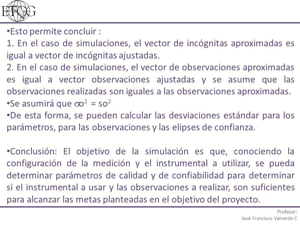 Esto permite concluir : 1. En el caso de simulaciones, el vector de incógnitas aproximadas es igual a vector de incógnitas ajustadas. 2. En el caso de