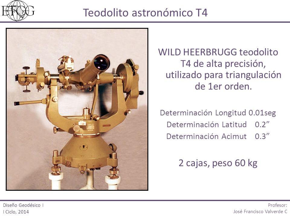 WILD HEERBRUGG teodolito T4 de alta precisión, utilizado para triangulación de 1er orden. Determinación Longitud 0.01seg Determinación Latitud 0.2 Det