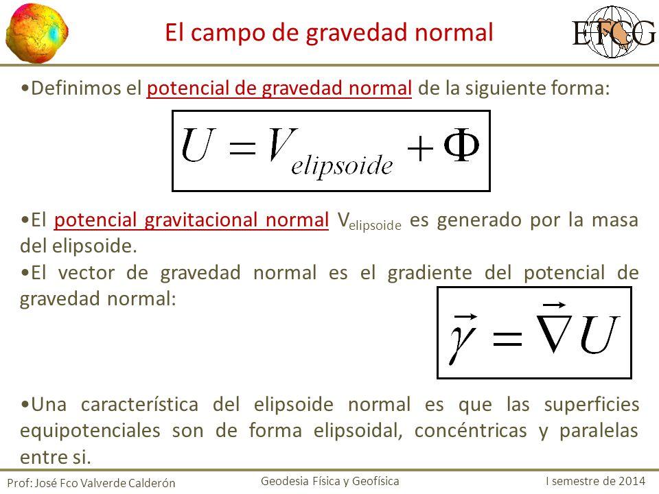 Definimos el potencial de gravedad normal de la siguiente forma: El potencial gravitacional normal V elipsoide es generado por la masa del elipsoide.