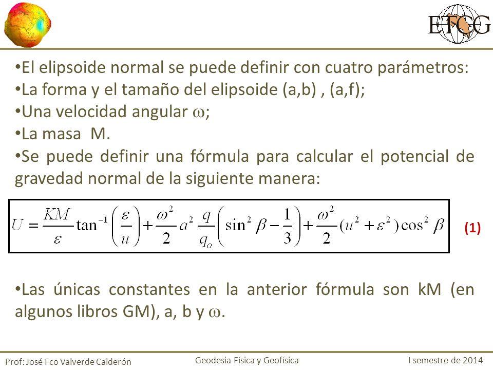 El elipsoide normal se puede definir con cuatro parámetros: La forma y el tamaño del elipsoide (a,b), (a,f); Una velocidad angular ; La masa M. Se pue