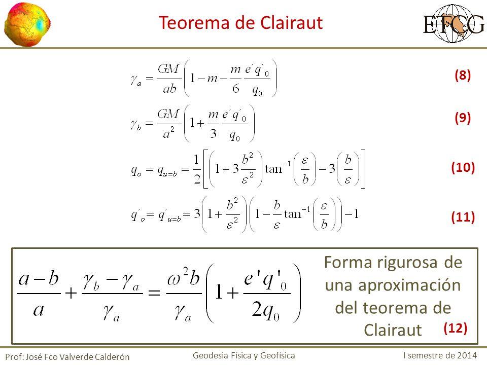 Prof: José Fco Valverde Calderón Teorema de Clairaut Forma rigurosa de una aproximación del teorema de Clairaut Geodesia Física y Geofísica I semestre