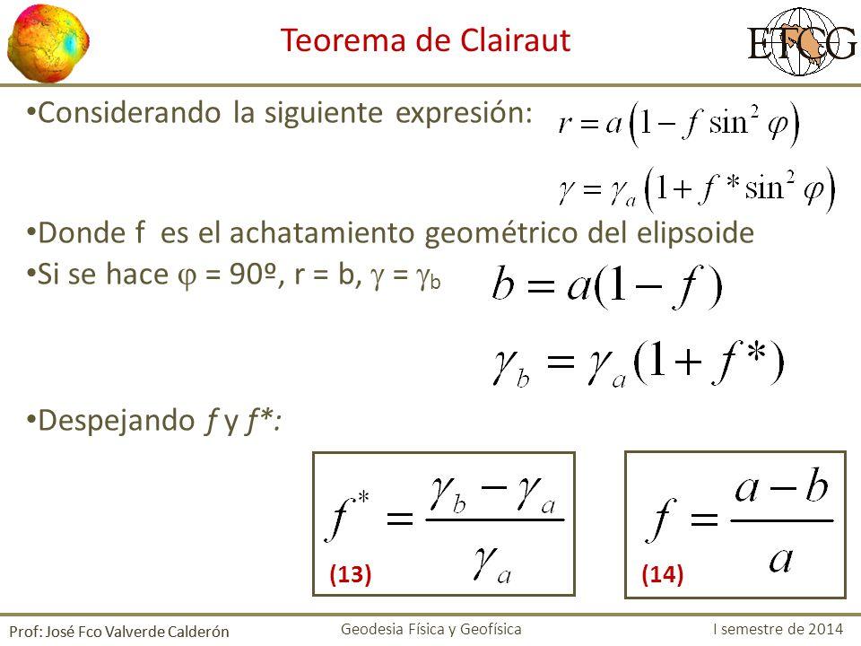 Considerando la siguiente expresión: Donde f es el achatamiento geométrico del elipsoide Si se hace = 90º, r = b, = b Despejando f y f*: Prof: José Fc