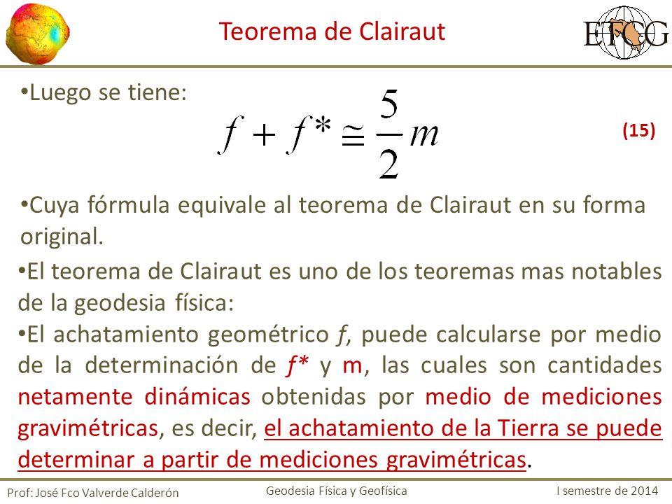 Luego se tiene: Cuya fórmula equivale al teorema de Clairaut en su forma original. Prof: José Fco Valverde Calderón Teorema de Clairaut El teorema de