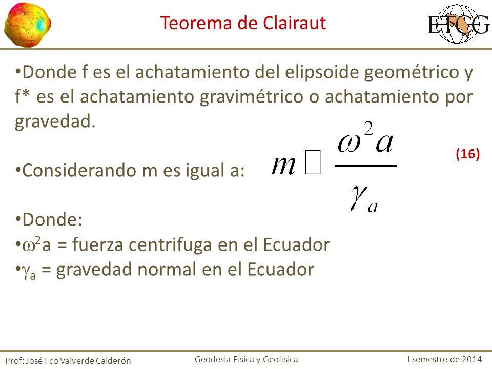 Donde f es el achatamiento del elipsoide geométrico y f* es el achatamiento gravimétrico o achatamiento por gravedad. Considerando m es igual a: Donde