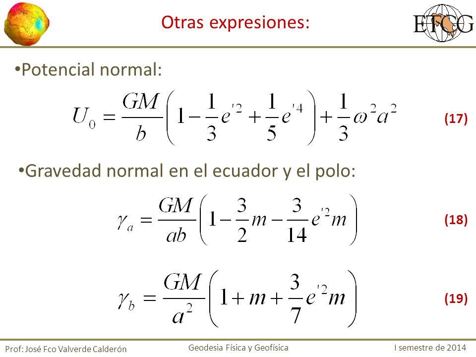 Otras expresiones: Potencial normal: Gravedad normal en el ecuador y el polo: Prof: José Fco Valverde Calderón Geodesia Física y Geofísica I semestre