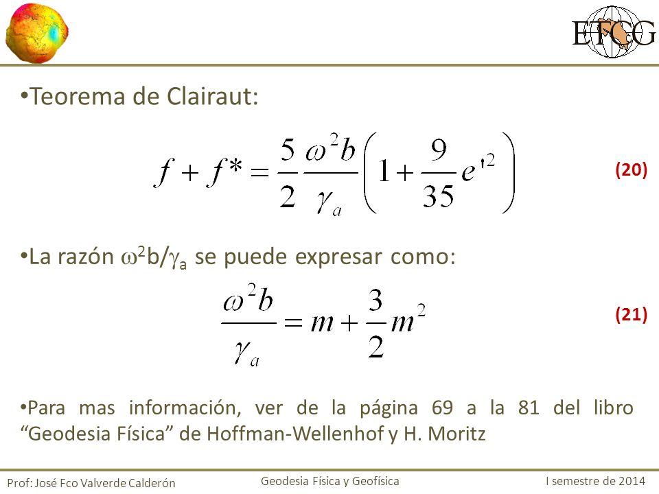 Prof: José Fco Valverde Calderón Teorema de Clairaut: La razón 2 b/ a se puede expresar como: Para mas información, ver de la página 69 a la 81 del li