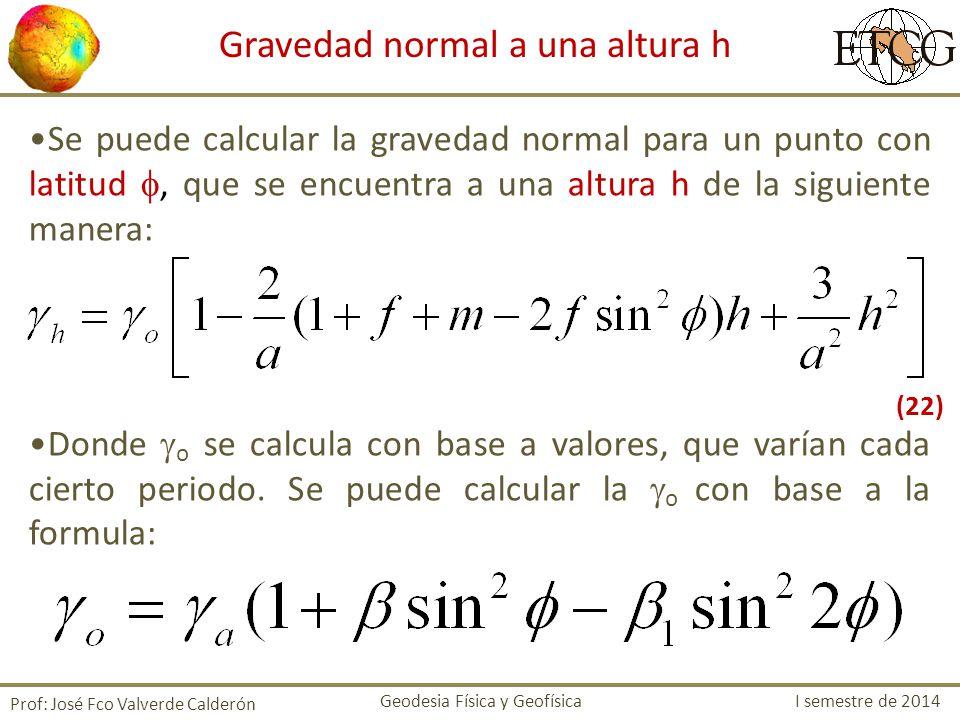 Se puede calcular la gravedad normal para un punto con latitud, que se encuentra a una altura h de la siguiente manera: Donde o se calcula con base a