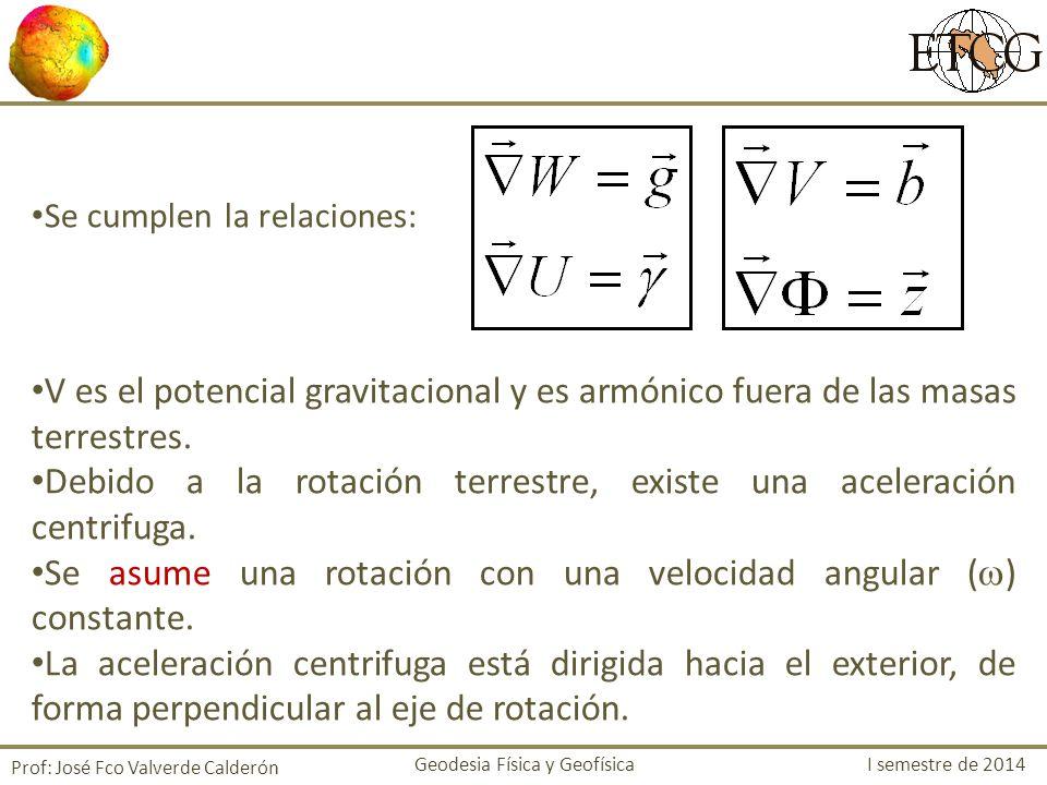 Se cumplen la relaciones: V es el potencial gravitacional y es armónico fuera de las masas terrestres. Debido a la rotación terrestre, existe una acel