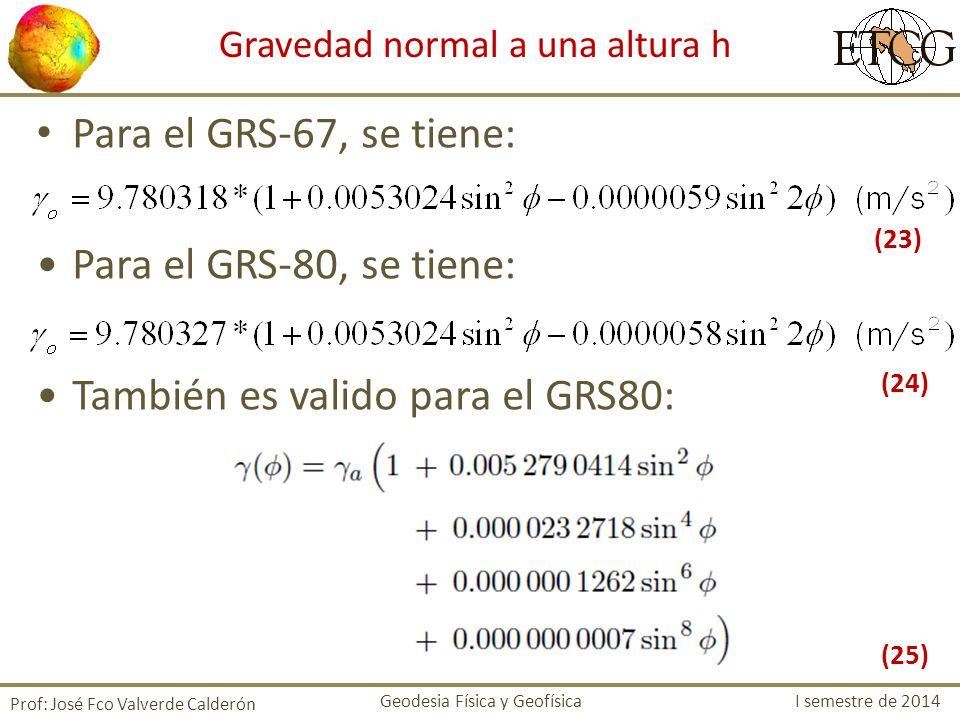 Para el GRS-67, se tiene: Para el GRS-80, se tiene: También es valido para el GRS80: Prof: José Fco Valverde Calderón Gravedad normal a una altura h G