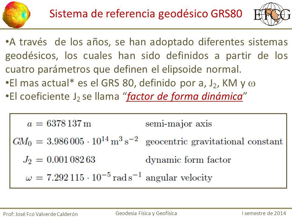 Prof: José Fco Valverde Calderón Sistema de referencia geodésico GRS80 A través de los años, se han adoptado diferentes sistemas geodésicos, los cuale