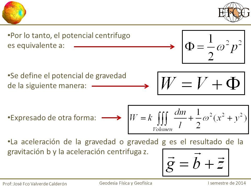 Por lo tanto, el potencial centrifugo es equivalente a: Se define el potencial de gravedad de la siguiente manera: Expresado de otra forma: La acelera