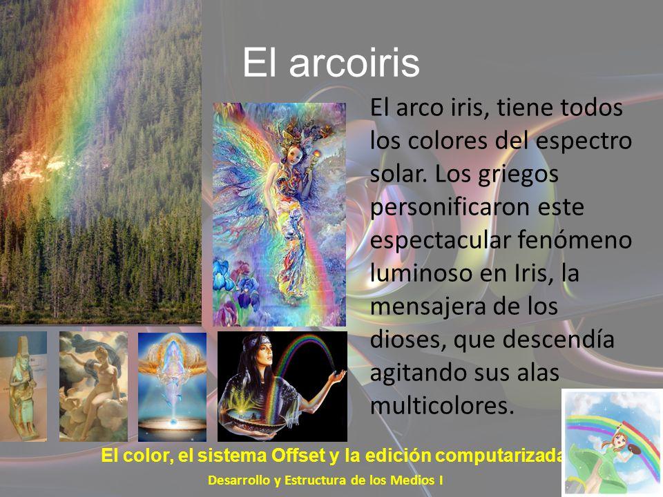 El arcoiris El arco iris, tiene todos los colores del espectro solar. Los griegos personificaron este espectacular fenómeno luminoso en Iris, la mensa
