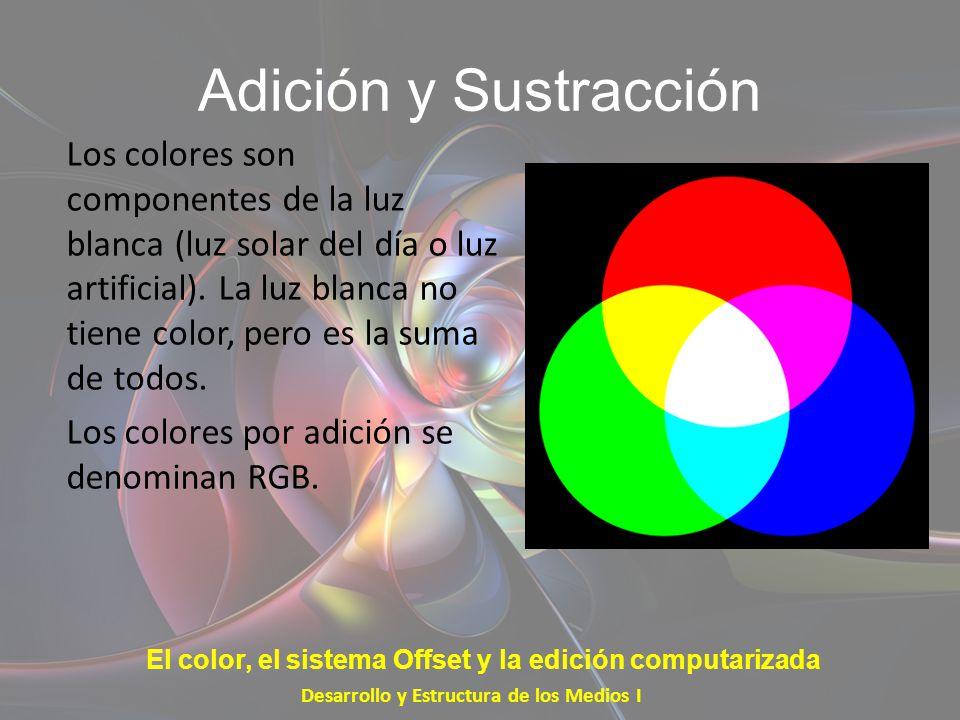 Adición y Sustracción Los colores son componentes de la luz blanca (luz solar del día o luz artificial). La luz blanca no tiene color, pero es la suma