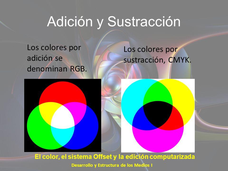 Adición y Sustracción Los colores por adición se denominan RGB. Desarrollo y Estructura de los Medios I El color, el sistema Offset y la edición compu