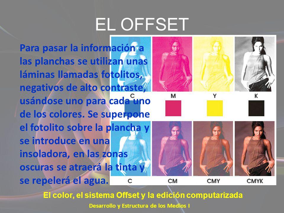 EL OFFSET Desarrollo y Estructura de los Medios I El color, el sistema Offset y la edición computarizada Para pasar la información a las planchas se u