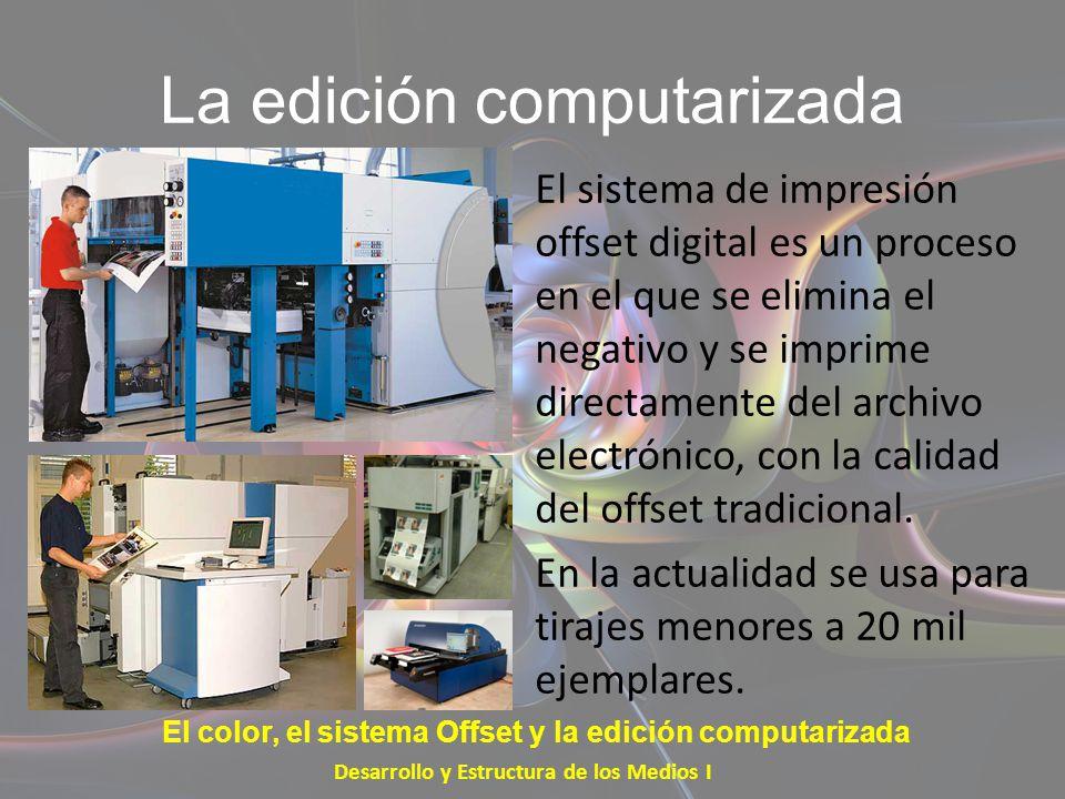 La edición computarizada El sistema de impresión offset digital es un proceso en el que se elimina el negativo y se imprime directamente del archivo e