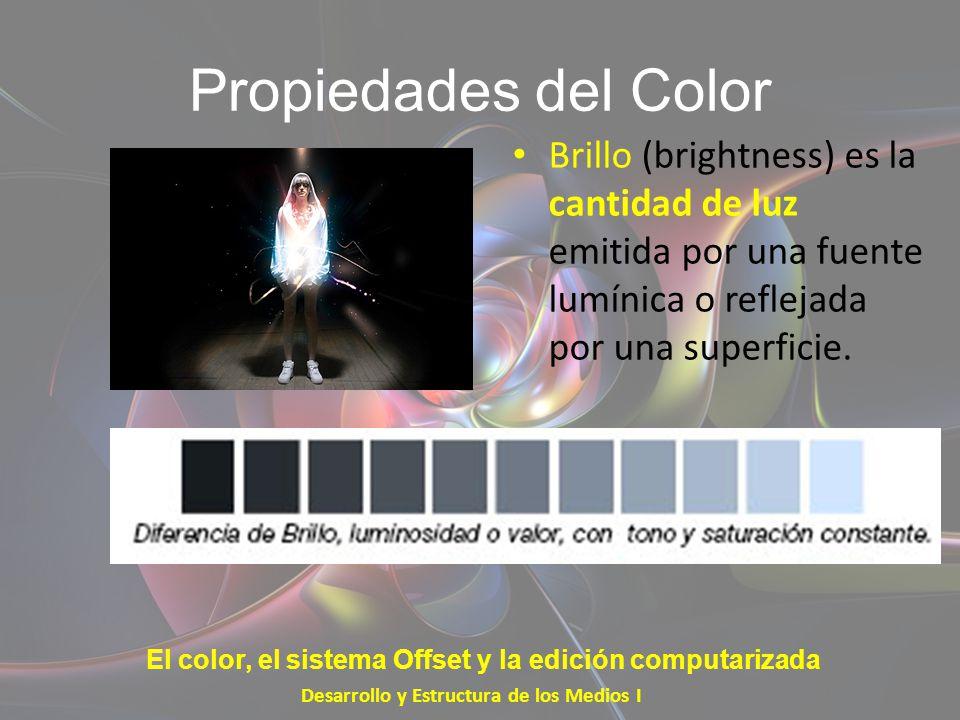 Propiedades del Color Brillo (brightness) es la cantidad de luz emitida por una fuente lumínica o reflejada por una superficie. Desarrollo y Estructur