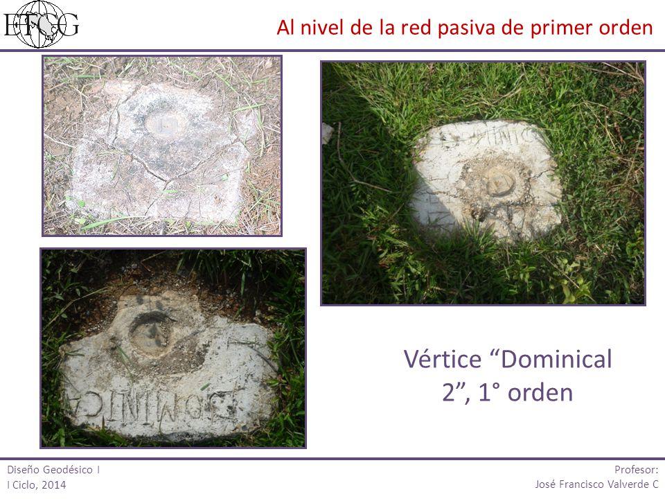 Vértice Dominical 2, 1° orden Diseño Geodésico I I Ciclo, 2014 Profesor: José Francisco Valverde C Al nivel de la red pasiva de primer orden
