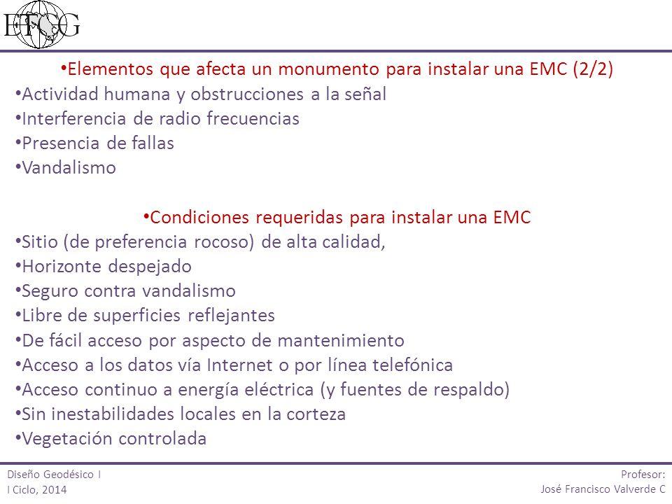 Elementos que afecta un monumento para instalar una EMC (2/2) Actividad humana y obstrucciones a la señal Interferencia de radio frecuencias Presencia