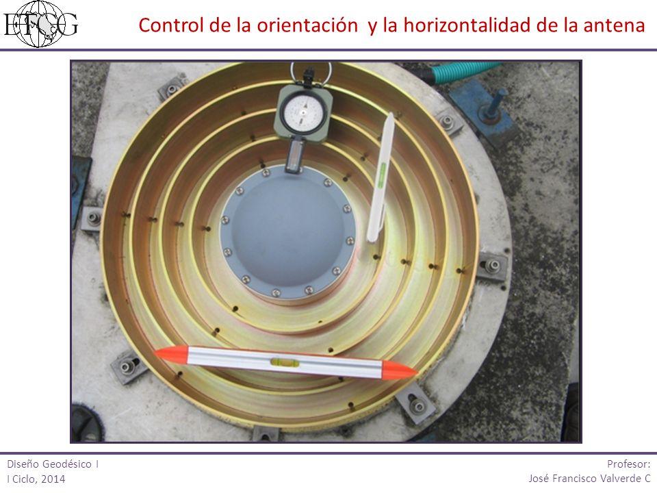 Diseño Geodésico I I Ciclo, 2014 Profesor: José Francisco Valverde C Control de la orientación y la horizontalidad de la antena