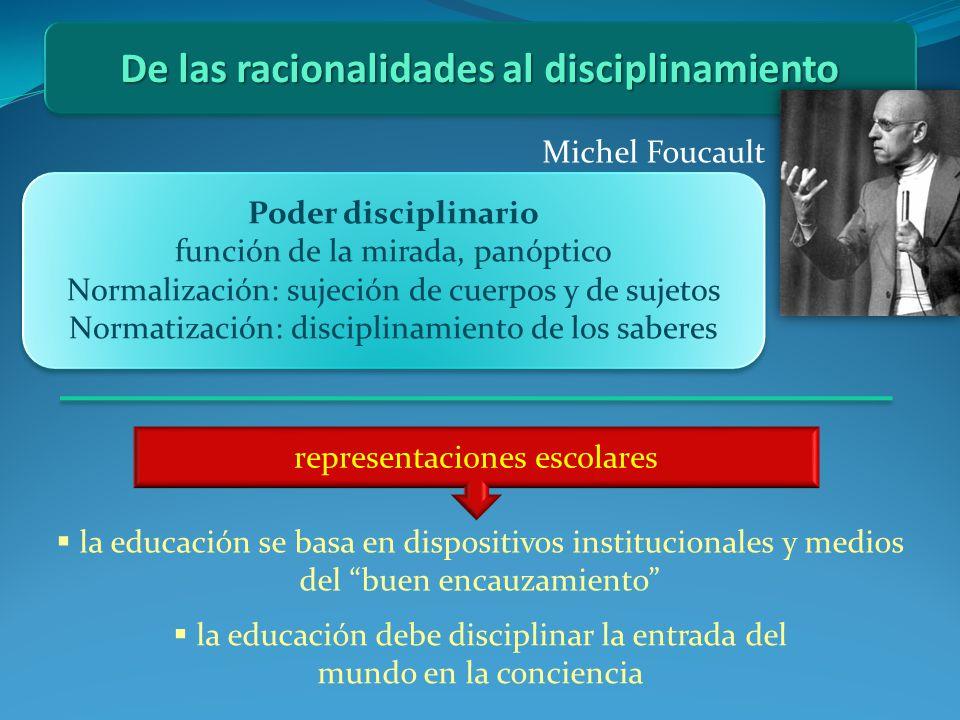 De las racionalidades al disciplinamiento Michel Foucault Poder disciplinario función de la mirada, panóptico Normalización: sujeción de cuerpos y de