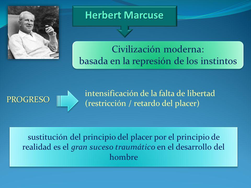 Herbert Marcuse PROGRESO intensificación de la falta de libertad (restricción / retardo del placer) sustitución del principio del placer por el princi