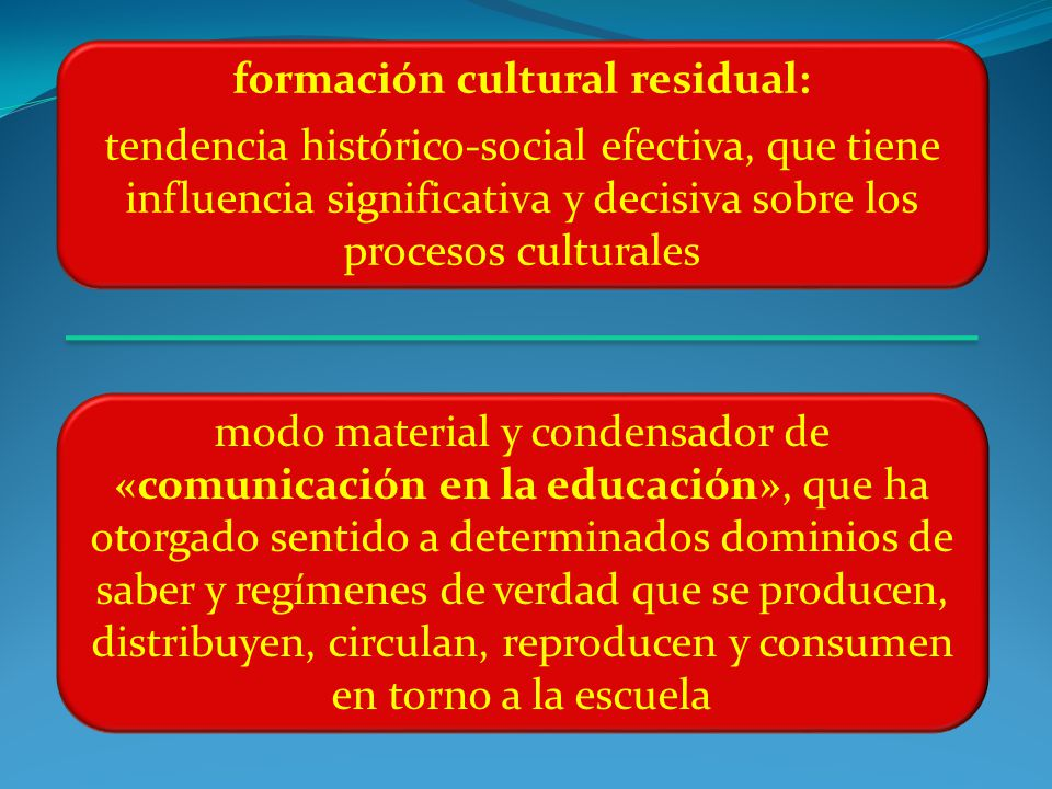 formación cultural residual: tendencia histórico-social efectiva, que tiene influencia significativa y decisiva sobre los procesos culturales modo material y condensador de «comunicación en la educación», que ha otorgado sentido a determinados dominios de saber y regímenes de verdad que se producen, distribuyen, circulan, reproducen y consumen en torno a la escuela
