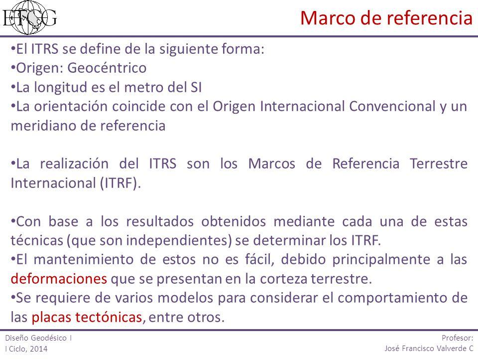 El ITRS se define de la siguiente forma: Origen: Geocéntrico La longitud es el metro del SI La orientación coincide con el Origen Internacional Convencional y un meridiano de referencia La realización del ITRS son los Marcos de Referencia Terrestre Internacional (ITRF).