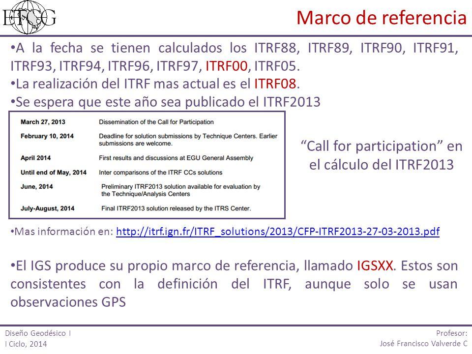 A la fecha se tienen calculados los ITRF88, ITRF89, ITRF90, ITRF91, ITRF93, ITRF94, ITRF96, ITRF97, ITRF00, ITRF05.