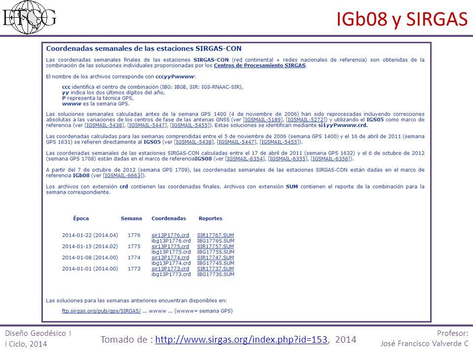 Profesor: José Francisco Valverde C IGb08 y SIRGAS Tomado de : http://www.sirgas.org/index.php?id=153, 2014http://www.sirgas.org/index.php?id=153 Diseño Geodésico I I Ciclo, 2014
