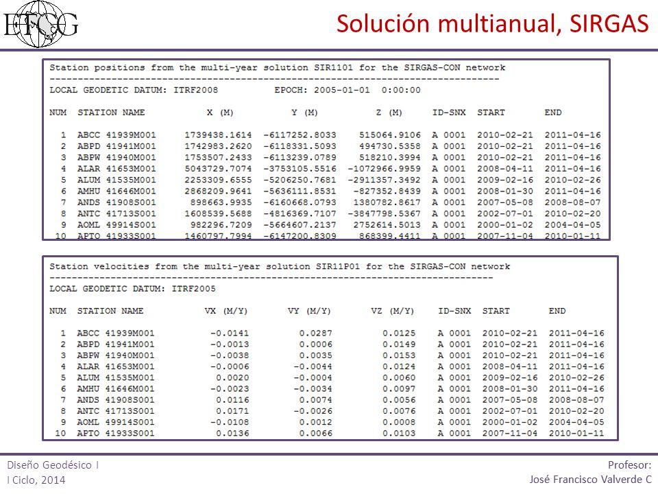 Solución multianual, SIRGAS Profesor: José Francisco Valverde C Profesor: José Francisco Valverde C Diseño Geodésico I I Ciclo, 2014