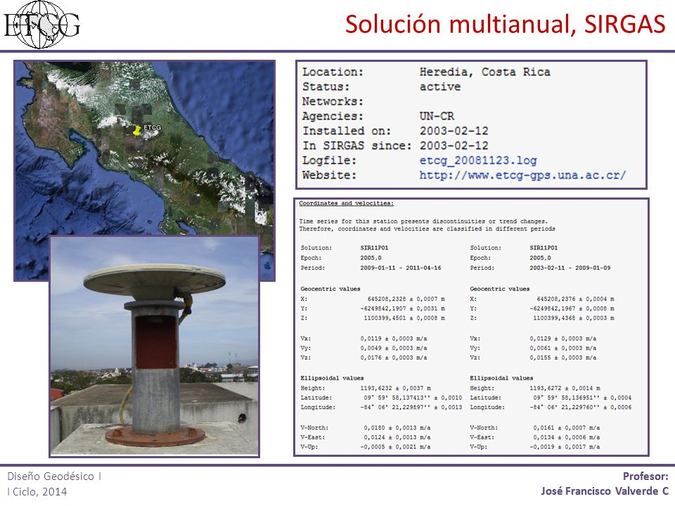 Profesor: José Francisco Valverde C Profesor: José Francisco Valverde C Solución multianual, SIRGAS Diseño Geodésico I I Ciclo, 2014