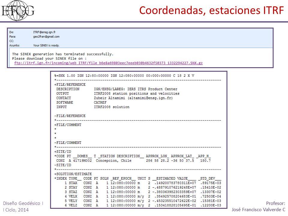 Coordenadas, estaciones ITRF Profesor: José Francisco Valverde C Profesor: José Francisco Valverde C Diseño Geodésico I I Ciclo, 2014