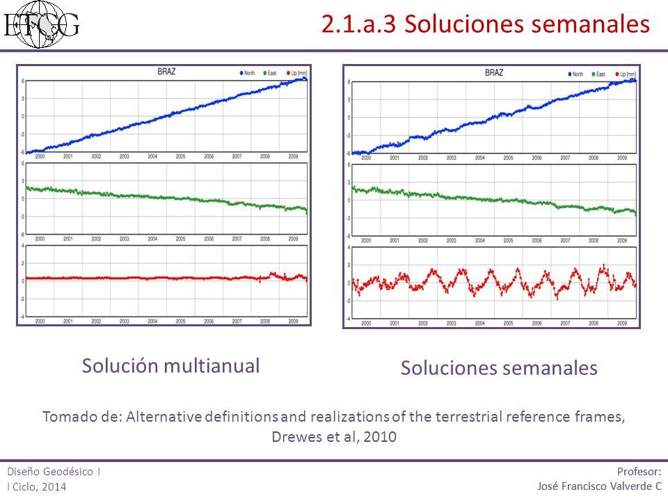 2.1.a.3 Soluciones semanales Solución multianual Soluciones semanales Tomado de: Alternative definitions and realizations of the terrestrial reference