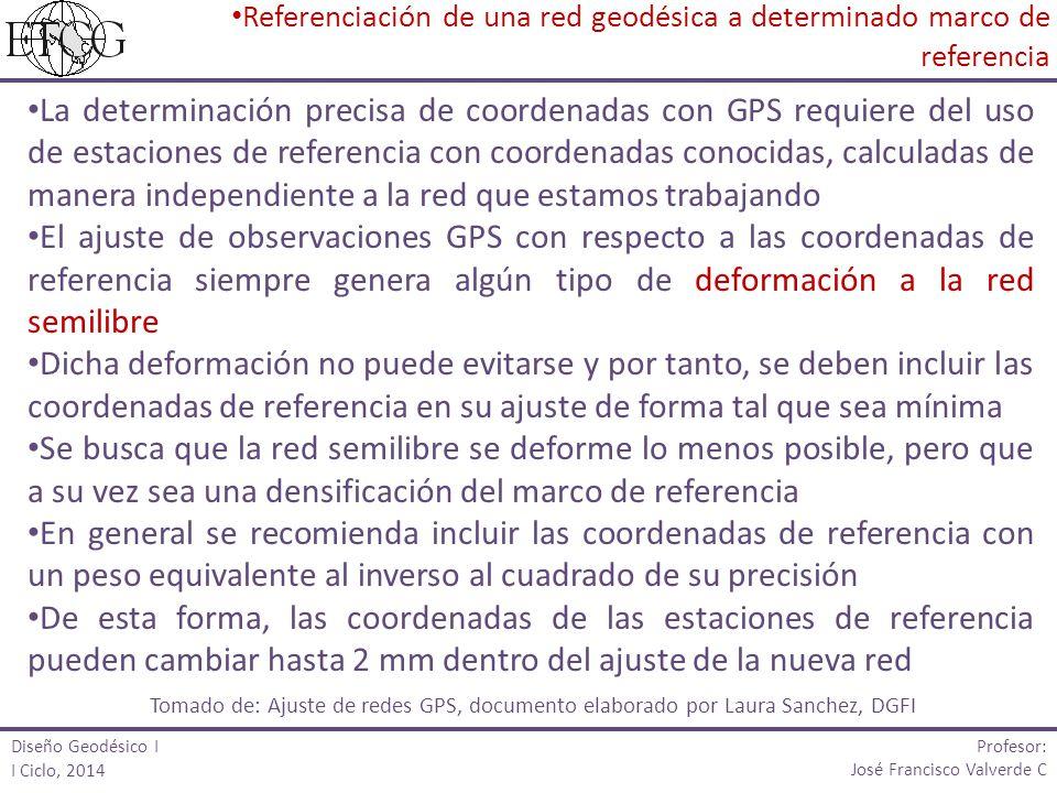 Profesor: José Francisco Valverde C La determinación precisa de coordenadas con GPS requiere del uso de estaciones de referencia con coordenadas conoc