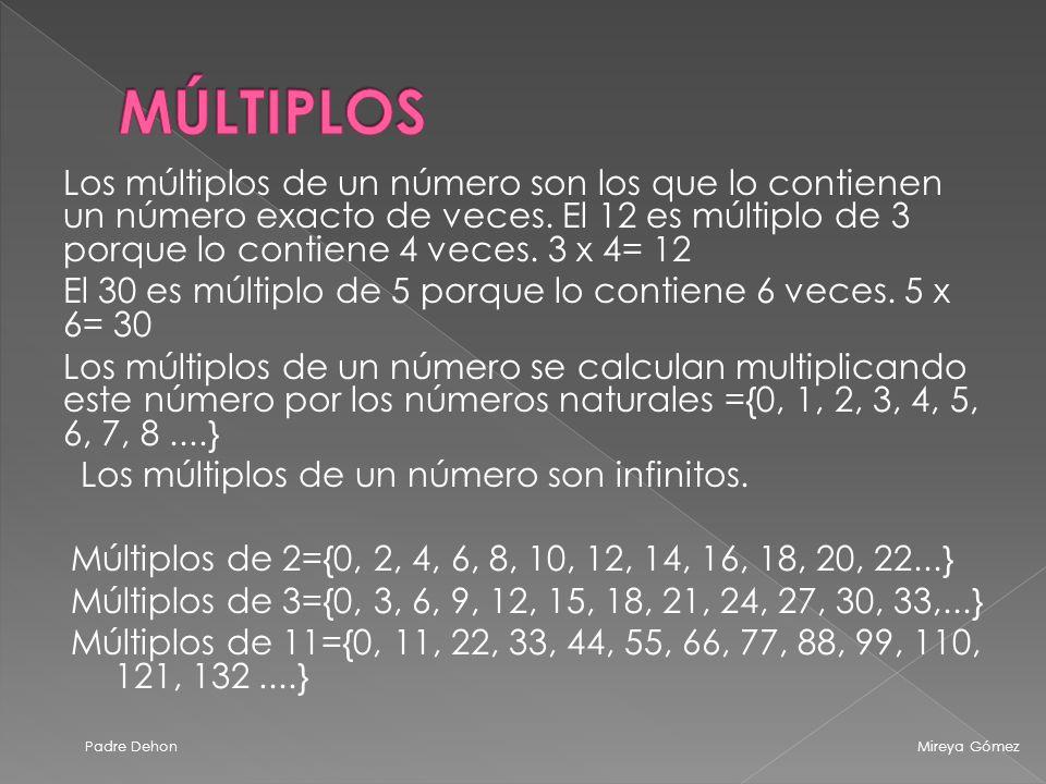 Los múltiplos de un número son los que lo contienen un número exacto de veces.