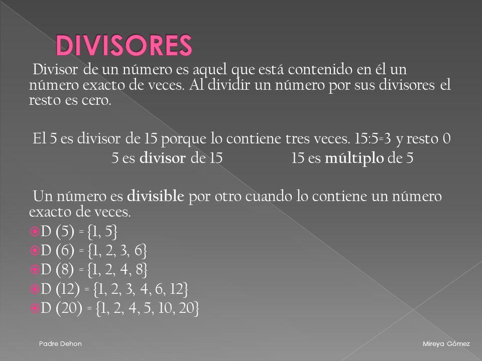 Divisor de un número es aquel que está contenido en él un número exacto de veces.