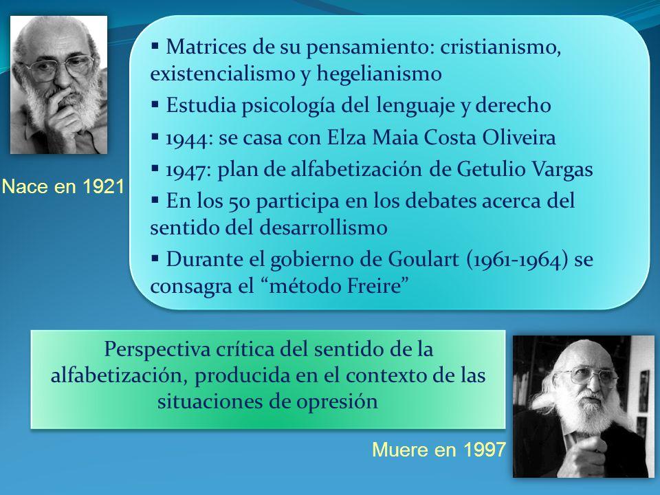 Nace en 1921 Muere en 1997 Matrices de su pensamiento: cristianismo, existencialismo y hegelianismo Estudia psicología del lenguaje y derecho 1944: se