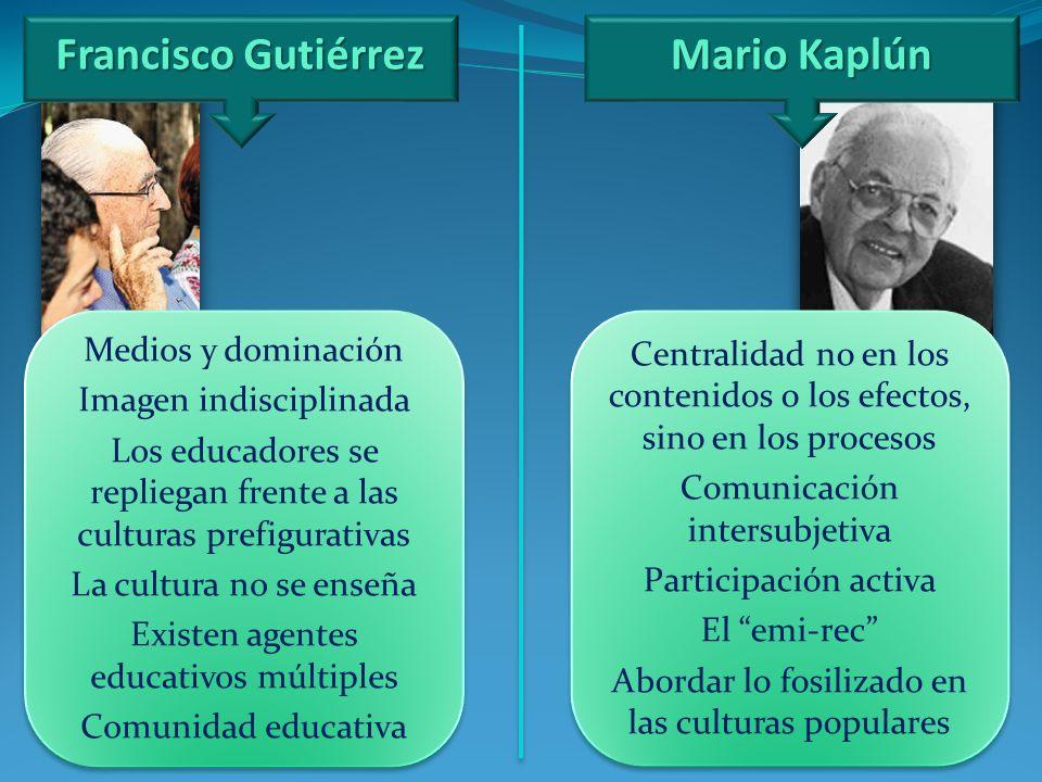 Francisco Gutiérrez Medios y dominación Imagen indisciplinada Los educadores se repliegan frente a las culturas prefigurativas La cultura no se enseña